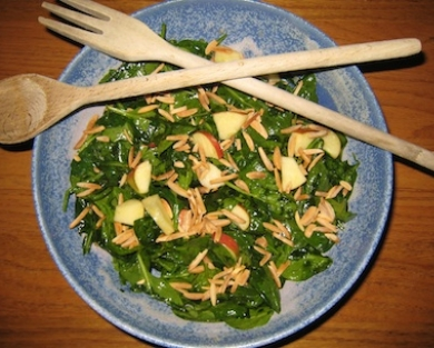 Wilted Spinach Salad with Honey-Lime Dressing